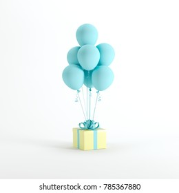 Yellow gift box with white blue balloon on white background. minimal christmas new year concept.