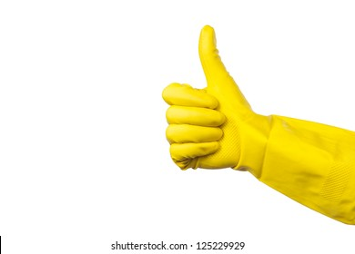 yellow glove for cleaning on womans arm show thumbs up