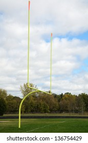 Yellow Goal Posts on American Football Field