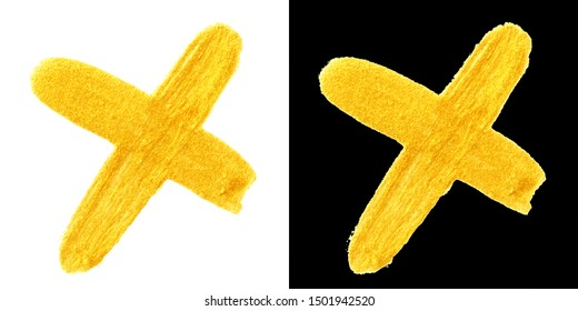 yellow gold colored doodle cross sign isolated on black and white backgrounds. hand-drawn golden acrylic ban symbol, stock photo illustration