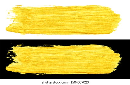 yellow gold colored doodle smear stroke isolated on black and white backgrounds, hand-drawn golden acrylic paint brush, abstract festive texture, stock photo illustration