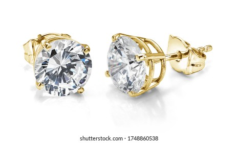 Yellow Gold Diamond Earrings Isolated on White Background