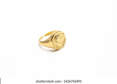 Yellow Gold Metal Signet Ring