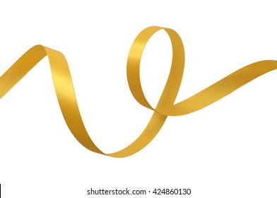 Yellow gold ribbon on white background with clipping path.