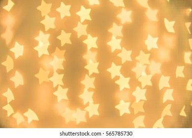 Yellow, gold, Star bokeh background. Modern flat design for card or website.
