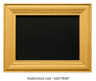Yellow or gold wooden picture frame, around blank blackboard or chalkboard texture, isolated on white background - with design / text / copy space.