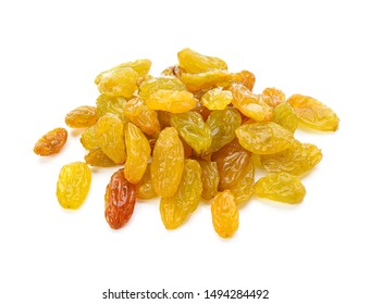 Yellow golden raisins isolated on white background. Top view