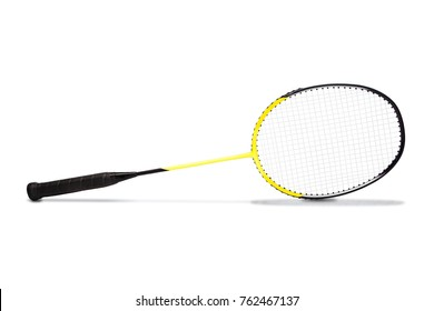 Yellow Graphite badminton racket isolated on white background