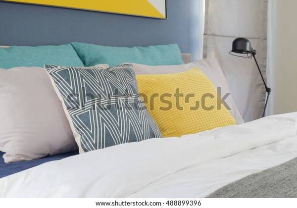 Yellow Gray Turquoise Color Pillows Setting Objects Stock Image 488899396
