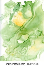 Yellow and Green Abstract watercolor background