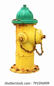 Yellow green old rusty american fire hydrant isolated on white background.  Yellow and green hydrant water.