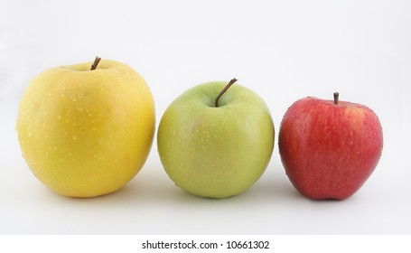 Yellow, green and red apple