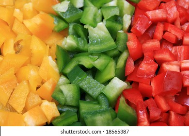 yellow, green, and red cut bell peppers