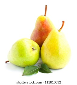 Yellow, green and red pears with leafs isolated on white background