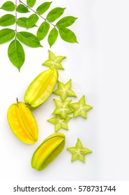 Yellow green star carambola or star apple ( starfruit ) on white background healthy star fruit food isolated