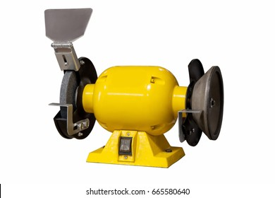 Yellow grinder, grinding machine isolated on white background