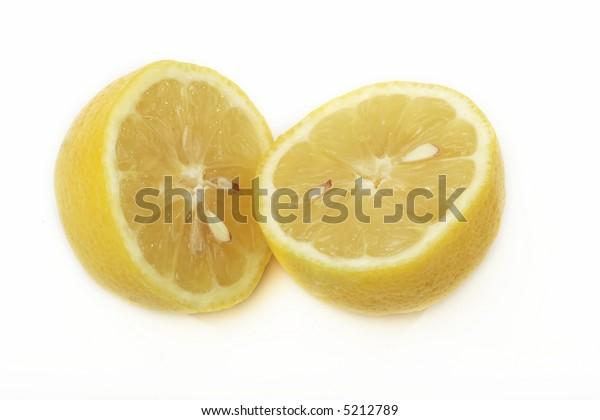 Yellow half fresh lemons