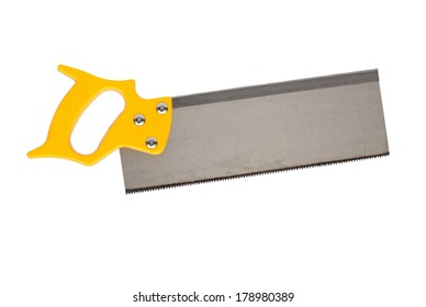 Yellow hand saw isolated on a white background