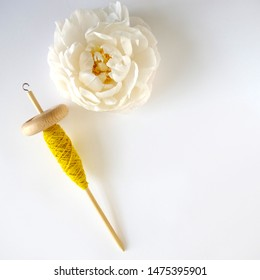 Yellow Hand Spun Single Yarn With Isolated Peony Flower Head, Diagonal Composition