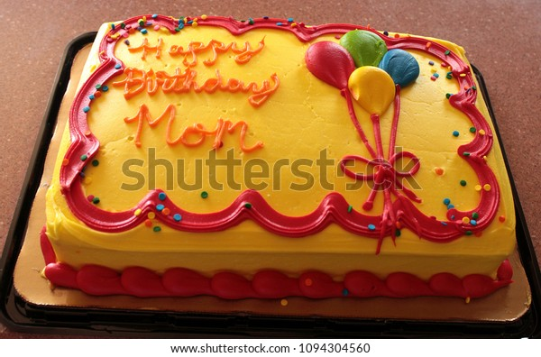 Groovy Yellow Happy Birthday Mom Cake Stock Photo Edit Now 1094304560 Funny Birthday Cards Online Eattedamsfinfo