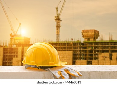 yellow hard hat on construction site