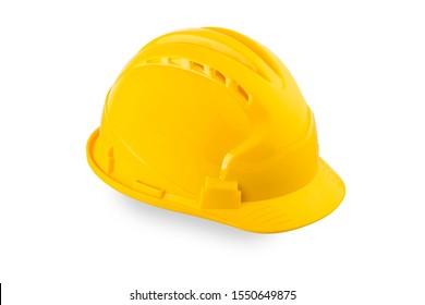 Yellow hard hat on white, Close up of bright yellow hard hat