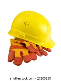 Yellow hard hat and  protective gloves isolated. Clipping path included.