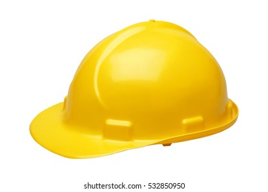 YELLOW HARD HAT SAFETY HELMET ON WHITE BACKGROUND