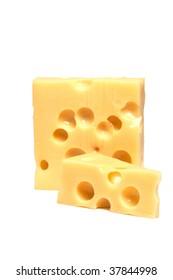 yellow hard swiss cheese on white