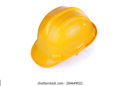 Yellow hardhat isolated on white background with clipping path