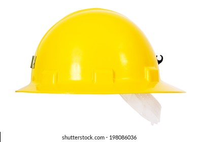 Yellow Hardhat Sideview Isolated on White Background