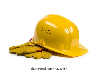 Yellow hat and gloves isolated