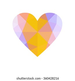 Yellow heart isolated on white background. Geometric rumpled triangular low poly origami style gradient graphic illustration. Raster polygonal design for your business.
