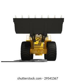 yellow heavy dozer isolated