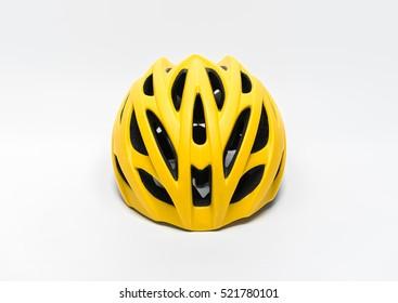 Yellow helmet bike isolated on white background.