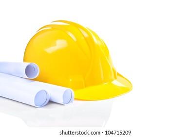 yellow helmet with blueprints isolated