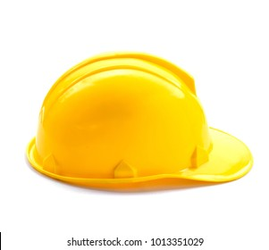 yellow helmet isolate and white background
