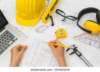 yellow helmet measuring tape ruler meter design