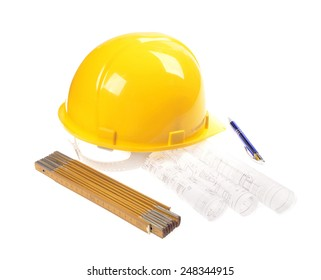 Yellow helmet, meter,project drawings isolated on white background