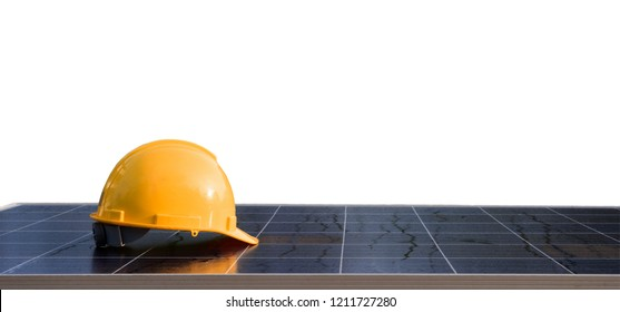 Yellow helmet safety with solar panels isolated on white background.