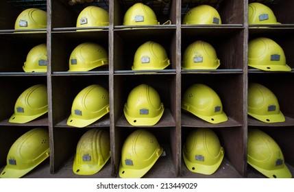 yellow helmets in shelf