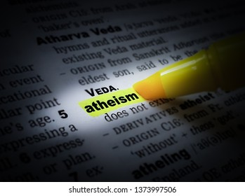 A yellow highlighted word in a page that reads: atheism