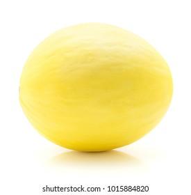 Yellow honeydew melon isolated on white background one ripe