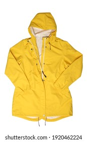 Yellow hooded raincoat isolated on white background