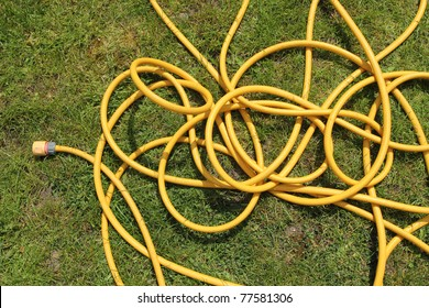 Yellow hose pipe on a green grass lawn.
