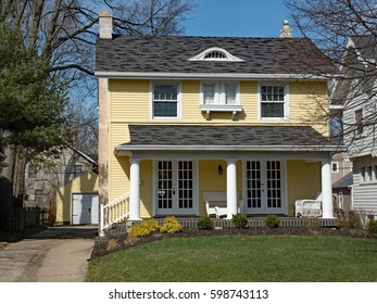 Yellow House with Columned Porch