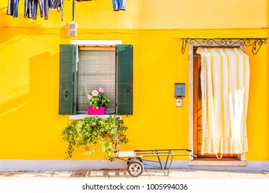 Yellow house with flowers and plants. Colorful houses in Burano island near Venice, Italy.