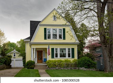 Yellow House in Spring before Storm