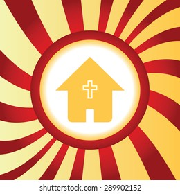 Yellow icon with house with christian cross, in the middle of abstract background