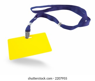 Yellow ID card and blue lanyard isolated against white background